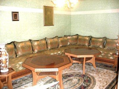 Salon 120 egyptien avec tissu vert salons marocains76 for Salon egyptien